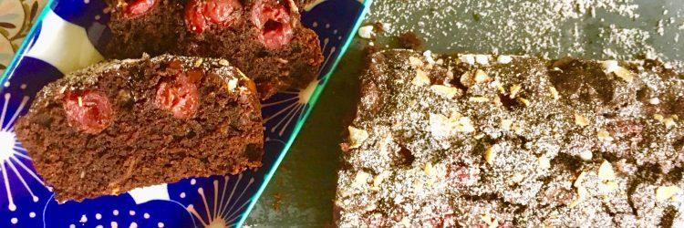 Rezept für schokobrownie Kuchen mit Kirschen und Mandeln